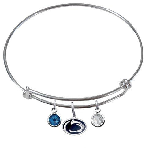 CustomCharms Penn State Nittany Lions Expandable Wire Charm Bracelet Bangle w/Team Color Crystals