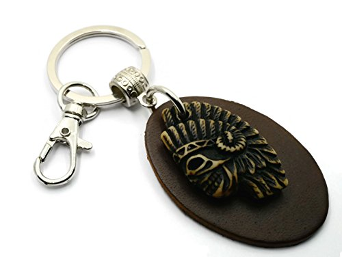 [BrownBeans, Resin Native Americans Indian Tribe Leather Keychain Keyring Fob Holder (BBKC2021)] (Indian Costumes Ideas Homemade)