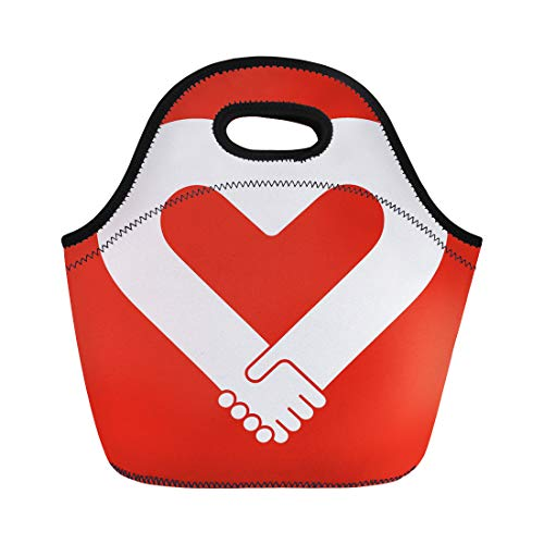 Semtomn Lunch Tote Bag Pink Agreement Handshake Sympathy Love and Friendship Red Anniversary Reusable Neoprene Insulated Thermal Outdoor Picnic Lunchbox for Men Women