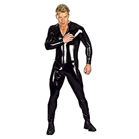 - 41A w8aoYLL - Iffee Men's Wet Look PVC Leather Long Sleeves Catsuit Jumpsuit Costumes Large