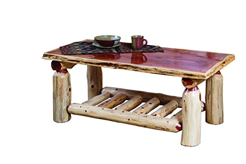 - Furniture Barn USA Rustic Red Cedar Log Coffee Table