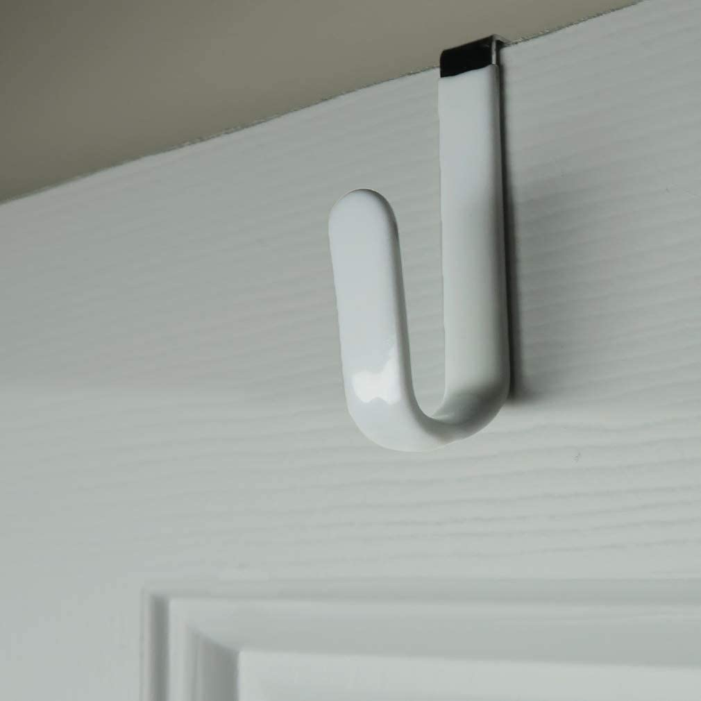 Evelots Over The Door Metal Hooks-Plastic Coated-Steel-Towel-Handbag-Coat-Set/8
