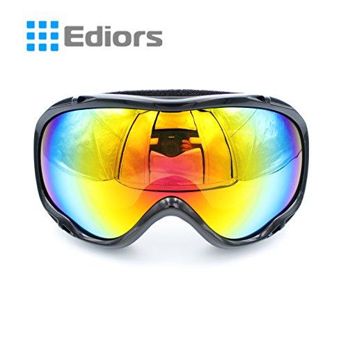 Ediors® Ski Goggles for Adult Youth Girl Boy- OTG Optical Prescription Snow,Skiing,Snowboard,Snowboarding,Snowmobile Eyewear with Dual Anti-fog,Anti-UV Lens,Case (Black) -