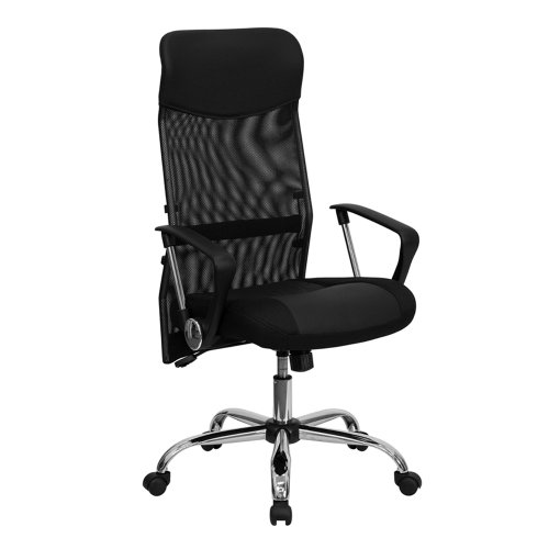 Offex OF-BT-905-GG High Back Black Split Leather Chair with Mesh Back