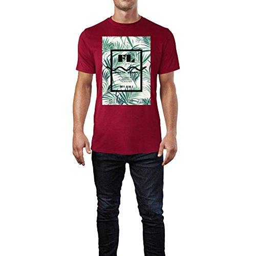 SINUS ART ® South Beach Miami mit Palmen – dunklerer Hintergrund Herren T-Shirts in Independence Rot Fun Shirt mit tollen Aufdruck