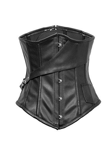 ZAMME Negro Steampunk de las mujeres de cuero falso Gótico Overbust cintura Trainer Corsets Disfraces