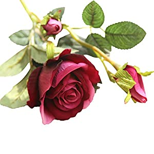 HitHopKing Artificial Flowers of Fake Rose Flower Bouquet Floral Plants Decor for Home Garden Wedding Party Decor (Purple) 23