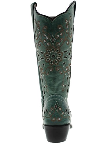 Cowboy Professionnel Femmes Turquoise Python Strass Cuir Santiags Turquoise