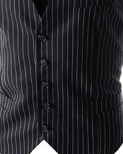 Striscia Fit A Uomo Colletto Senza Blazer Maniche Nero V Giacca Slim Bottone Mengmiao Gilet twIFHqzz