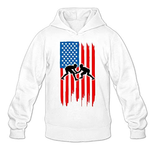 Kkajjhd American Flag Wrestling Sweatshirt Autumn Winter Men's Long Sleeve Pullovers by Kkajjhd