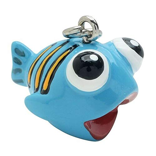 (2 Adorable 3 Dimensional Resin Hand Painted Orange Striped Blue Fish Charms )