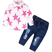Hot Sale Litter Girl Clothes, Stars Print Long Sleeve T Shirt Tops Blouse Demin Pants 2Pcs Outfits Set