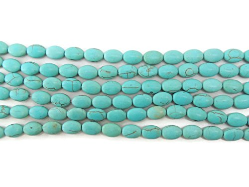 Turquoise Howlite Oval Gemstone Beads 14 x 10mm Four 7-8