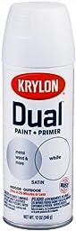 Krylon K08822001 \'Dual\' Superbond Paint and Primer, Satin White, 12 Ounce