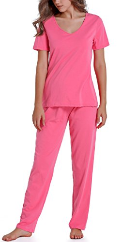 Chamllymers Women's Cotton Sleepwear Short Sleeve Pajamas Sets With Pants Watermelon Red XL