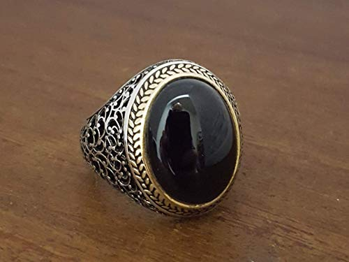 (Beautiful Handcrafted 925K Sterling Silver Mens Ring With Onyx Stone)
