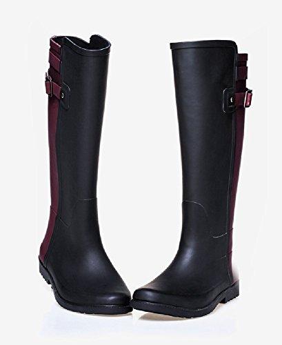 Insun Kvinners Høye Rain Boots Kvinner Vanntett Rød Og Svart