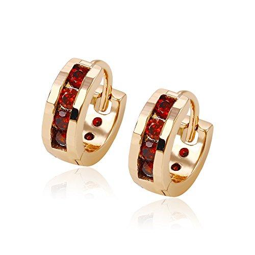Xuping Hoop Earrings Christmas Gold Jewelry (18K + Garnet) M6-61024 - 18k Gold Garnet Ring