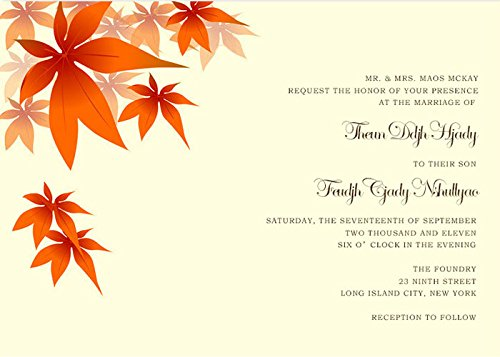 Invitation Fall Leaves Wedding (Handmade Custom Red Maples Leaves Fall Wedding Invitations)
