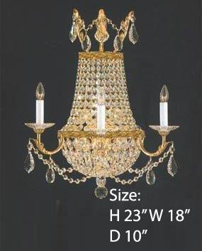 Crystal Trimmed Wall Sconce! Empire Crystal Wall Sconce Lighting W18