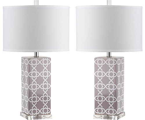Safavieh Lighting Collection Quatrefoil Table Lamp, Grey, Set of 2 by Safavieh