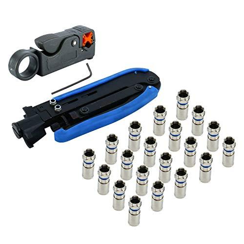 YaeTek Coax Compression Crimping Stripping Tool Kit F-Type Crimper RG59 RG6 RG11 / Stripper and Connectors 20 PCS ()