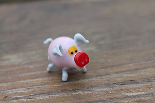 Glass pig Pink ornament, small glass pig figurine, glass Pink pig statue, small pig ornament, gift for pig lover, pig figure, miniature (Murano Glass Pig Figurine)