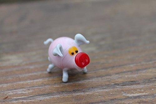 Glass pig Pink ornament, small glass pig figurine, glass Pink pig statue, small pig ornament, gift for pig lover, pig figure, miniature pig