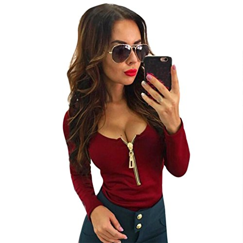 Over Junior Tee (Dressin Women's Sexy Crop Tops Casual Deep V-Neck Zipper Long Sleeve Shirt Blouse Slim Fit Tee (Wine, L))