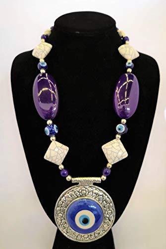 Vajra Silver Coated Evil Eye Necklace Pendant Fashion Jewelry