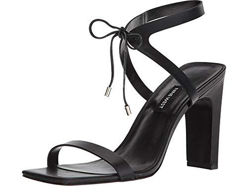 Nine West Women's LONGITANO Leather Heeled Sandal, Black, 10 Medium US