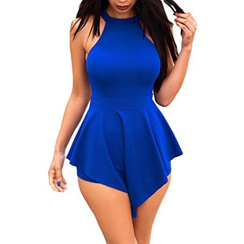 Blue One Piece Outfit - Lajiojio Women Sexy Halter Crop Top Off Shoulder Bodycon Shorts Jumpsuit