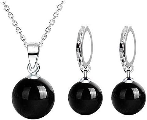 FUKAI Nouveau Mode Simple Arriv/ée Shine Natural Stone Rouge Noir Femmes Argent Couleur Drop Collier Boucles doreilles Parures De Bijoux Exquis Accessoires Cadeau