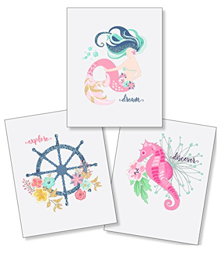 Bathroom Decor for Kids - Girls Nautical Mermaid Ocean - 8x10 Unframed Set of 3 Pearl Art Prints - Dream Explore Discover - Anchor Seahorse Seashell Baby Newborn Shower Gift - Nursery Bedroom