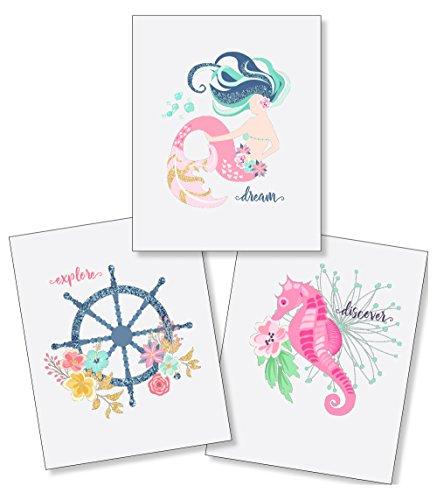 Confetti Fox Bathroom Decor for Kids - Girl's Nautical Mermaid Ocean - 8x10 Set of 3 Pearl Art Prints - Dream Explore Discover - Anchor Seahorse Seashell Baby Newborn Shower Gift - Nursery Bedroom