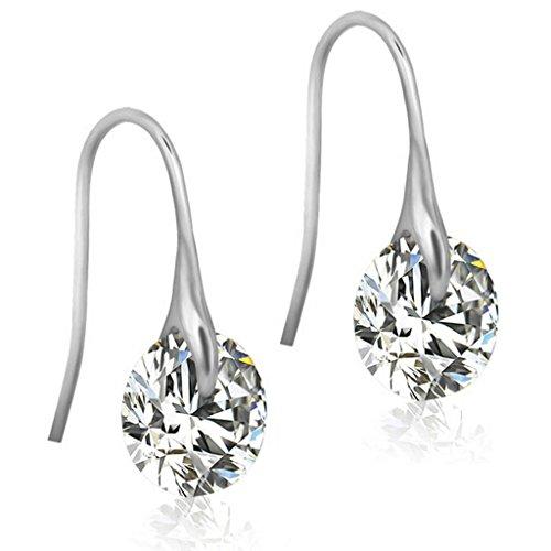 Beydodo Stainless Steel Women's Drop Earrings Fishhook Dangling Round Brilliant Crystal, White, (Brilliant Cut Dangling Earrings)