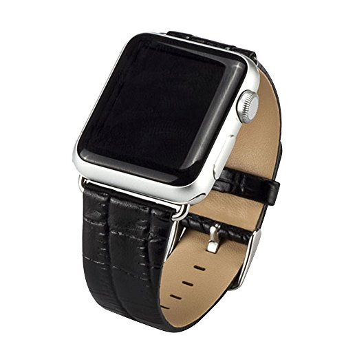 Cuitan Durable Leather Watch Band for 42mm Apple Watch iWatch, Crocodile pattern with Adapter Steel Buckle Replacement Watchband Wrist Band Bracelet Strap Wristband - Black (Not included Watch)
