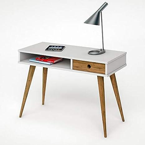 Scrivania Legno Naturale.Hogar24 Studio Scrivania In Legno Colore Bianco E Legno