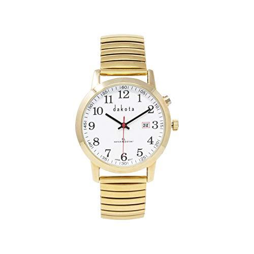 Dakota Easy Read EL Moonglow Stainless Steel Expansion Band Water Resistant Watch (Gold, 27090) (Dakota Watch Bands)