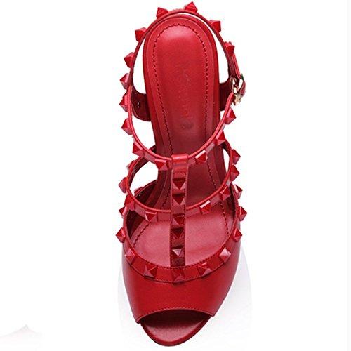 Nine Seven Cuero Puntera Abierta Sandalias de Vestir de Tacón Aguja con la Hebilla para Mujer Rojo