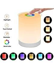 Luz de Noche Recargable,Multifuncional lampara LED de mesa recargable,Regulable Blanco Cálido(tres intensidades) y RGB Color-Cambiante(7 Color) Luces de noche (Colors)