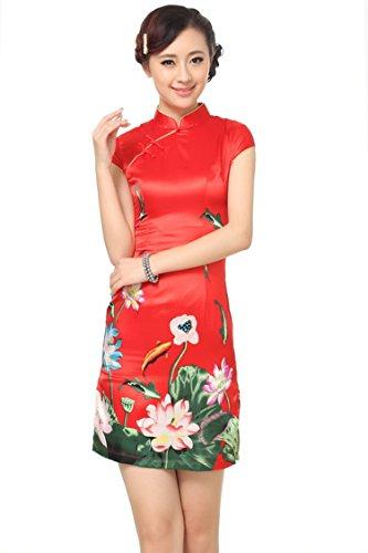 Reveryml Mujer Vestidos Qipao Ropa Tradicional China Barato Cheongsam para la Venta Vestidos de Estilo Chino Vestido de la Flor de Loto Red