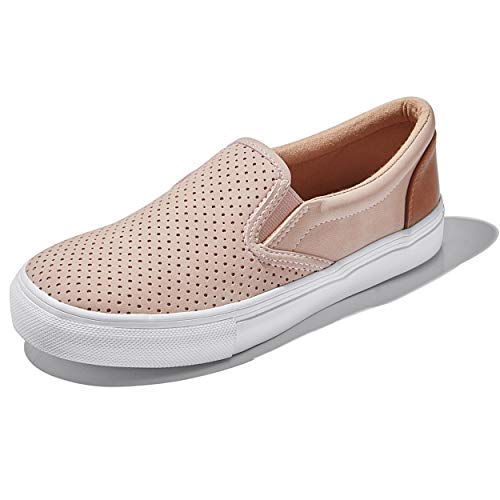 DailyShoes Unisex Flat Memory Foam Slip On Sneakers Flats Women Low Formal Round Dress Casual Shoes Casual Slip-On Loafers Sneakers Shoes Mauve,P,U,6.5
