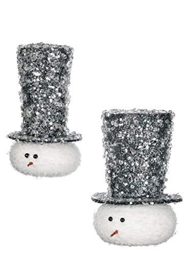 Sullivans Top Hat Snowmen 6 Inch Hanging Christmas Ornaments Assorted Set of 2