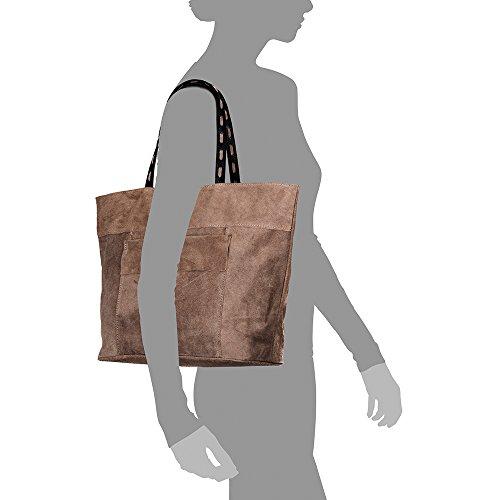 Bolso Dollaro ARTEGIANI MADE IN TAUPE PELLE piel piel shopping ITALY mujer Asa 46x34x15 ITALIANA bag genuino auténtica hombro hombro de VERA FIRENZE MARRON cm Color GAMUZA Bolso cuero 8xqwdTqa