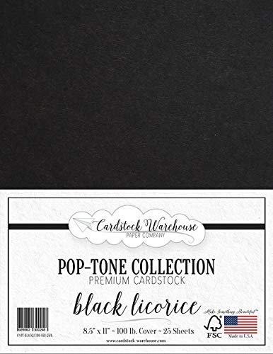 Black Licorice Cardstock Paper - 8.5 x 11 inch 100 lb. Heavyweight Cover -25 Sheets from Cardstock Warehouse -
