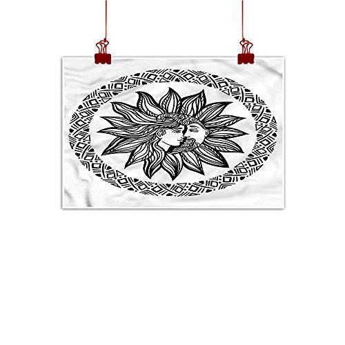 Anzhutwelve Canvas Prints Wall Art Sun and Moon,Bohemian Tattoo Design 24