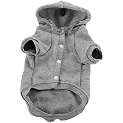 uxcell Pet Dog Hooded Hoody Sweatshirt Clothes Polyester Basic Apparel Puppy Cat Winter/Spring/Fall Costume Outfits Fleece Warm Coat with Pocket Gray XXL