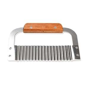 Tenflyer Hardwood Handle Crinkle Stainless Steel Wax Vegetable Soap Cutter Wavy Slicer