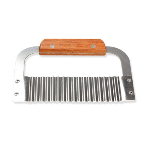 Anysell88 Hardwood Handle Crinkle Wax Vegetable Soap Cutter Wavy Slicer Stainless Steel